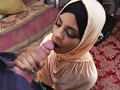 Hot Arab slut sucks a giant prick for money POV